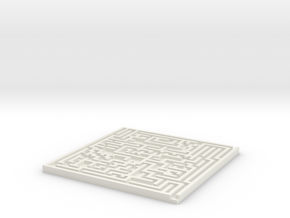 Square Maze Coaster in White Natural Versatile Plastic