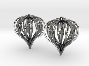 Earrings Heart In Heart - 2 Pcs in Fine Detail Polished Silver