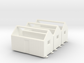 H0 logging - Bunkhouse (3pcs) in White Strong & Flexible Polished