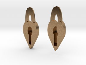 Lock Heart Earring set more printable in Natural Brass