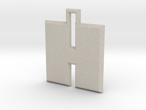 ABC Pendant - H Type - Solid - 24x24x3 mm in Natural Sandstone