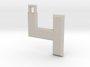 ABC Pendant - 4 Type - Solid - 24x24x3 mm in Natural Sandstone