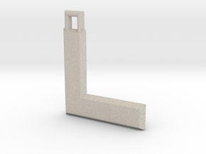 ABC Pendant - L Type - Solid - 24x24x3 mm in Natural Sandstone