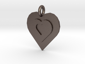3 hearts in Polished Bronzed Silver Steel
