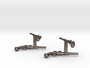 Dueling Pistol Cufflinks in Polished Bronzed Silver Steel