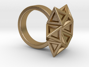 Star of David Ring in Polished Gold Steel