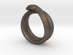 Snake Ring (various sizes) in Polished Bronzed Silver Steel