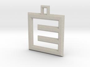 ABC Pendant - E Type - Wire - 24x24x3 mm in Natural Sandstone