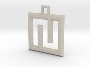 ABC Pendant - N Type - Wire - 24x24x3 mm in Natural Sandstone