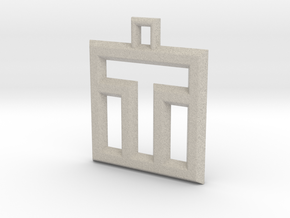 ABC Pendant - T Type - Wire - 24x24x3 mm in Natural Sandstone