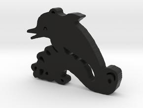Happy Dolphin in Black Natural Versatile Plastic