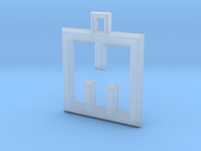 ABC Pendant - M Type - Wire - 24x24x3 mm in Smooth Fine Detail Plastic