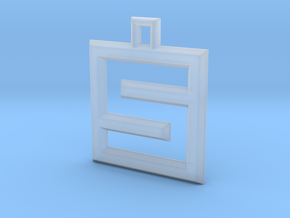 ABC Pendant - S/5 Type - Wire - 24x24x3 mm in Smooth Fine Detail Plastic