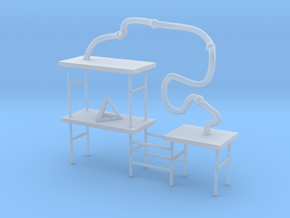 Shelves with Tetrahedron and Tube in Smooth Fine Detail Plastic