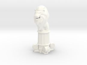 Lion Bishop (Square Base) in White Processed Versatile Plastic