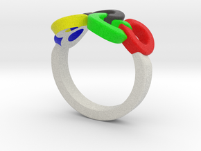 Olympic Ring-sz16 in Full Color Sandstone