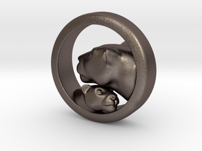 Lioness and Cub Pendant in Polished Bronzed Silver Steel