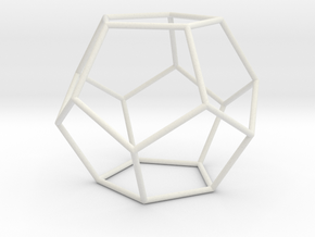 Dodecahedron 100mm in White Strong & Flexible