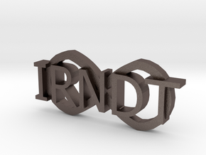 "IRNDT Logo Badge 1.3"" height in Polished Bronzed Silver Steel"