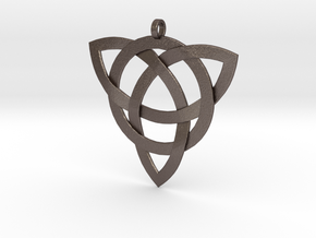 Large Celtic Knot Pendant (Inverted Triquetra) in Polished Bronzed Silver Steel
