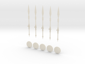 28mm 5 Spears and Round Shields in White Acrylic