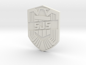 SJS Badge Custom in White Natural Versatile Plastic