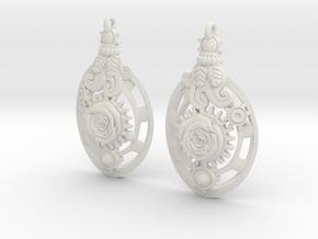 Botanika Mechanicum Earrings in White Natural Versatile Plastic