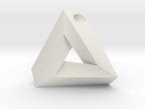 Penrose Triangle - Pendant (3cm | 3mm hole) in White Natural Versatile Plastic