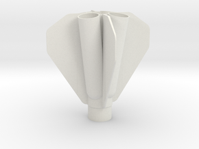 Quad Engine Rocket Fin Can 34mm in White Natural Versatile Plastic