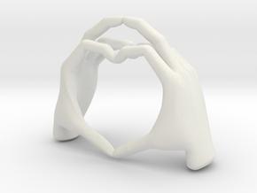 Hand-heart-5.2cm in White Natural Versatile Plastic