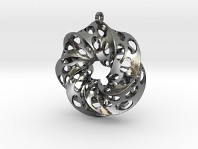 Mobius Square with Circles in Polished Silver