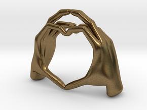 Hand-heart-27mm in Raw Bronze