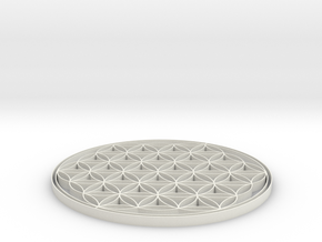 Flower of life coaster 80x3mm in White Strong & Flexible