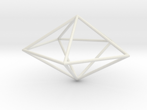 pentagonal dipyramid 70mm in White Natural Versatile Plastic