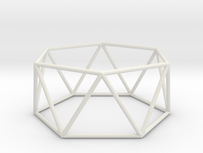 hexagonal antiprism 70mm in White Strong & Flexible