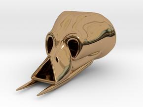 Alien Skull Pendant (40 mm H) in Polished Brass