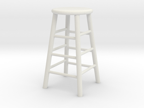 1:24 Wood Stool 1 (Not Full Size) in White Natural Versatile Plastic