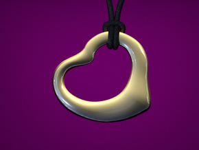 Open Heart Pandent, small in Polished Gold Steel