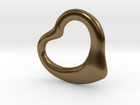 Open Heart Pandent, small in Polished Bronze