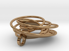 Twin Rail Mobius Pendant - small in Polished Brass