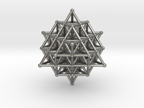 64 Tetrahedron Grid 45mm in Natural Silver