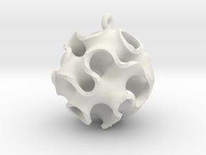 Gyroid Ornament in White Natural Versatile Plastic