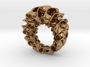 Gyroid Ring in Polished Brass