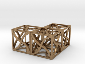 Twirl cubed puzzle part #5 in Natural Brass