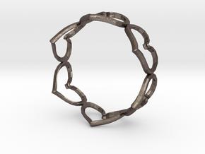 Hearts Bracelet 3inch in Polished Bronzed Silver Steel