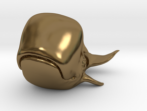 Happy Whale small 60mm long in Polished Bronze