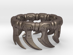 Zerg Ring in Polished Bronzed Silver Steel