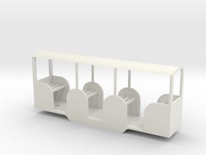 Miniature Railway Coach 1:29th on 9mm in White Natural Versatile Plastic