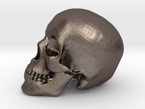 Detailed Human Skull (Life sized) in Polished Bronzed Silver Steel