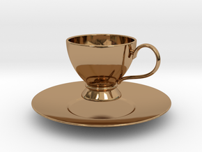 1/6 scale Tea Cup & saucer in Polished Brass